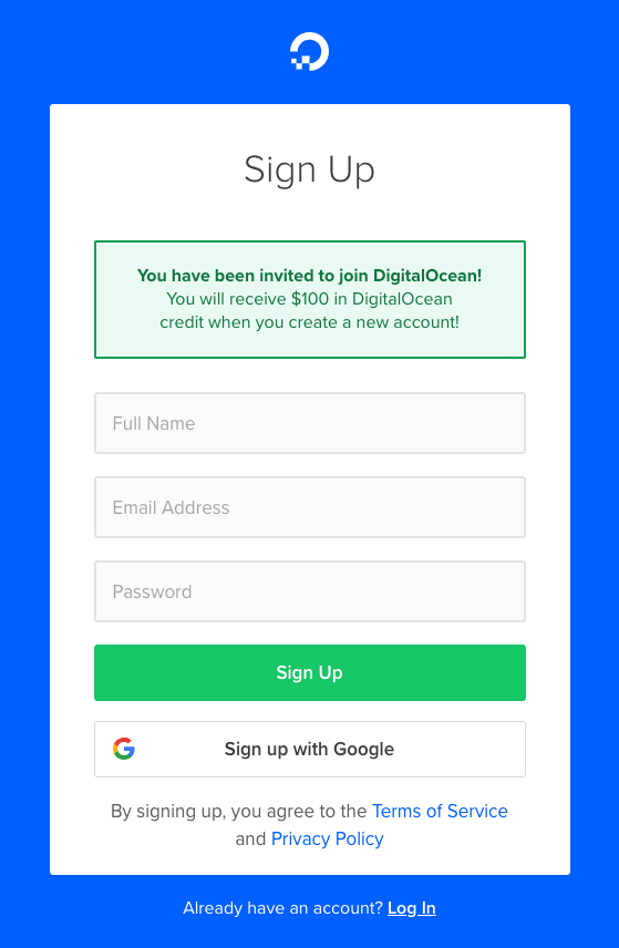 Digital Ocean Signup with promo code special offer discount